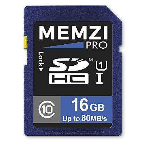 Memzi Pro 16GB Clase 1080MB/s tarjeta de memoria SDHC para Canon PowerShot G, D o N Series cámaras digitales