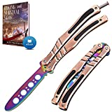 Butterfly Knife Trainer - Balisong Trainer - Practice Butterfly Knife - Balisong Butterfly Knives NOT Real NOT Sharp Blade - Black Dull Trick Butterfly Knifes - Butter Fly Knife Training CSGO K01 A