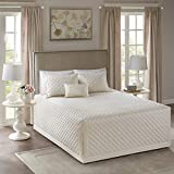 Madison Park Fitted Bedspread Classic Traditional Design All Season, Lightweight, Bedding Set, Matching Shams, King(79' x81+24D), 100% Cotton Breanna, Diamond Quilting Ivory 4 Piece