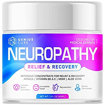 Neuropathy Nerve Pain Relief Cream - Maximum Strength Relief Cream for Foot Hands Legs Toes Includes Arnica Vitamin B6 Aloe Vera MSM - Scientifically Developed for Effective Relief 2oz