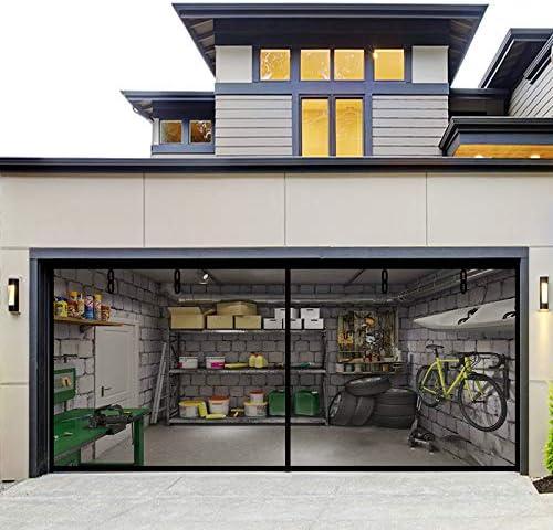 Fiberglass Magnetic Garage Screen Door Double 16x7ft 2 car Hands Free Mesh Screen Door DIY Retractable product image