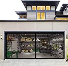 Fiberglass Magnetic Garage Screen Door - Double 16x7ft (2 car) Hands Free Mesh Screen Door?DIY Retractable Garage Door Screen with 4 Roll Up Starps?Easy to Install