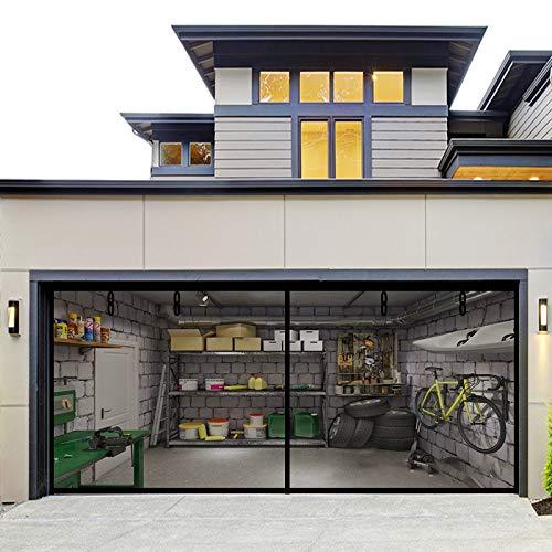 Fiberglass Magnetic Garage Screen Door - Double 16x7ft (2 car) Hands Free Mesh Screen Door,DIY Retractable Garage Door Screen with 4 Roll Up Starps,Easy to Install