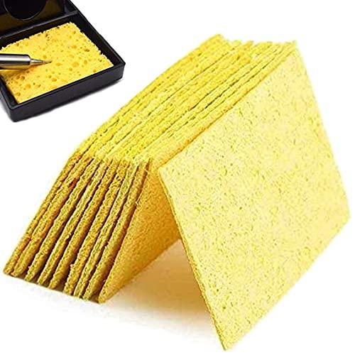 50 piezas Esponja de soldadura de alta temperatura, Almohadillas de Esponja para Soldador, Esponja Limpieza para Soldadura Soldadura Soldador Esponja Estaño Amarillas
