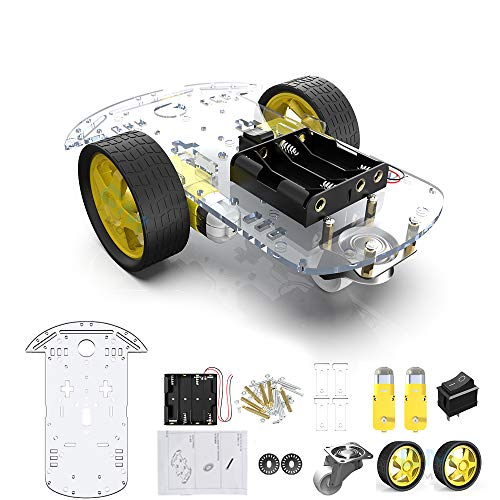 2WD Robot Smart Car Chassis DIY Kits Intelligent Engine with Tracking Speed and Tacho Encoder 65x26mm Tire for Arduino Raspberry Pi (2WD)