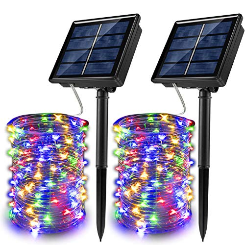 JosMega Upgraded Solar Powered String Fairy Lights 2 Pack 33 ft 100 LED 8 Modes Waterproof IP65 Twinkle Lighting Indoor Outdoor Fairy Firefly Lights Auto ON / Off (2 Pack 33 ft 100 LED, Multicolor)