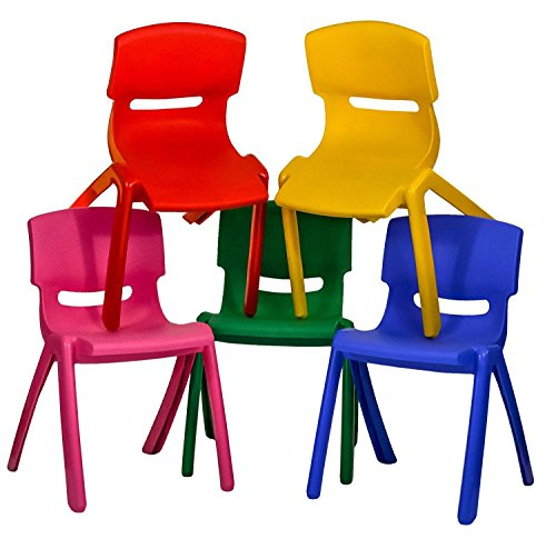 TOYO 5x Children Strong Stackable Kids Plastic Chairs Picnic Party Garden Nursery Club Indoor Outdoor (Multi Colour)