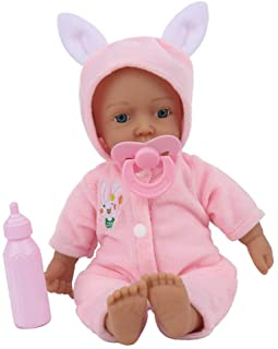 Baosity 11inch Reborn Baby with Rabbit Clothes, Lifelike Handmade Soft Silicone Cotton Body Newborn Doll Kids Gifts Toys
