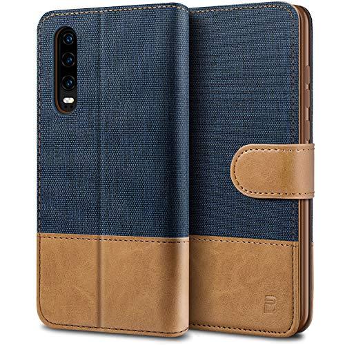 BEZ Handyhülle für Huawei P30 Hülle, Tasche Kompatibel für Huawei P30, Schutzhüllen aus Klappetui mit Kreditkartenhaltern, Ständer, Magnetverschluss, Blaue Marine