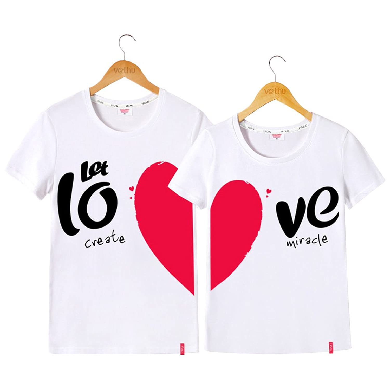 [RSWHYY] メンズ レディース ペアルック カップル 夏 プリント 半袖 Tシャツ 恋人 ココロ柄 スイート ファッション LOVE ラウンドネック 新婚祝い 観光