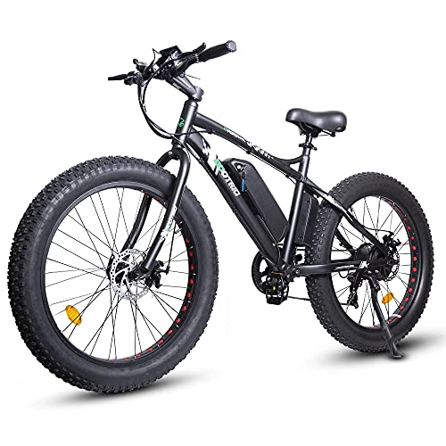 ECOTRIC Powerful Electric Bicycle 26' X 4' Fat Tire Bike 500W 36V/12Ah Battery EBike Moped Mountain Beach Snow Ebike Throttle & Pedal Assist - 90% Pre-Assembled (Black)