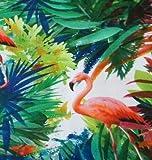 Textile London Flamingo Birds Baumwollstoff Bedruckt Grün