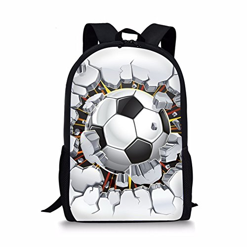 INSTANTARTS Best Gift Back to School Backpack for Boys Children's Book Bags Soccer White