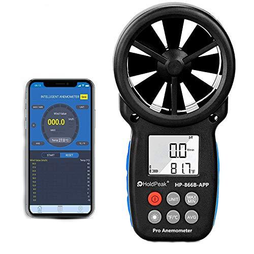 Anemómetro Bluetooth Digital con Control Aplicación Inteligente&Soporte de Registro,Inalámbrico Medidor de Velocidad del Viento para Medir la Velocidad del Viento,Temperatura y Enfriamiento del Vi