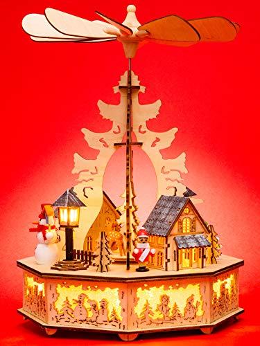 Sikora P33 LED Holz Weihnachtspyramide mit elektrischem Antrieb und Beleuchtung, Farbe/Modell:Motiv Laterne Schneemann Kind Häuser