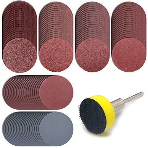 120 discos de lija de 25 mm con vástago de 1/8 pulgadas para Dremel y la mayoría de herramientas giratorias, papel de grano 100/180/240/400/1500/3000
