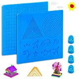 3D Pen Mat, 16.6 x 7.7 Inches Large 3D Printing Pen Mat Silicone Basic Template with 4 Finger Protectors, 3D Pen Drawing Tools, Gift for 3D Beginners/Kids/Adults (Blue Set 1)