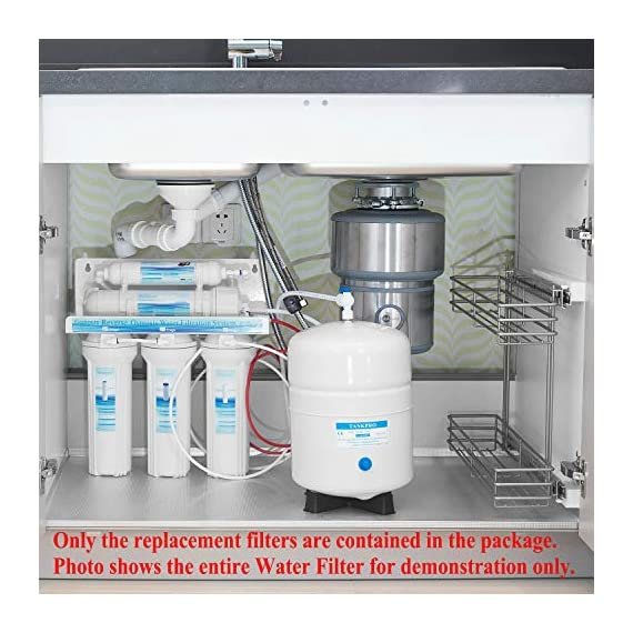 """Geekpure Universal Compatible 5 Stage Reverse Osmosis Replacement Filter Set with 100 GPD Membrane -10 Inch 6 Universal Compatible standard 10"""" reverse osmosis replacement filter cartridges,size:2.5""""OD x 10"""" height,Fits almost standard sized 5 or 6 stage reverse osmosis systems Pack of 8-Includes (1)PP Sediment ,(1)Gruanlar Activated Carbon ,(1) Carbon Block Filter,(1)100 GPD Reverse Osmosis Membrane, (1) Post inline Carbon Filter.(2) 1/4""""NPT quick fittings, (1) Roll Teflon seal tape.NOTE: THE LAST STAGE POST CARBON IS 1/4""""NPT THREAD INLET AND OUTLET NSF certificated RO membrane filters down to 0.0001 micron,Reduce 99% contaminant ,including Heavy Metal Arsenic,Lead,Mercury,Fluoride,Hardness,Cadmium,Chlorine,Taste and more 1000+ contaminants to provide healthy, safe and pure water"""