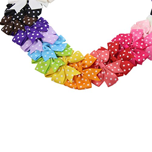 HBF 30PCS Boutique Kids Grosgrain Ribbon Hair Bow Alligator Clips for Toddler Baby Girls