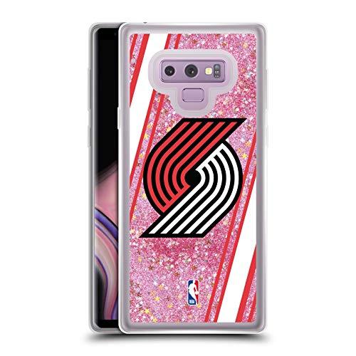 Officiële NBA Strepen Portland Trail Blazers 2 Licht Roze Helder Hybrid Vloeibare Glitter Compatibel voor Samsung Galaxy Note9 / Note 9