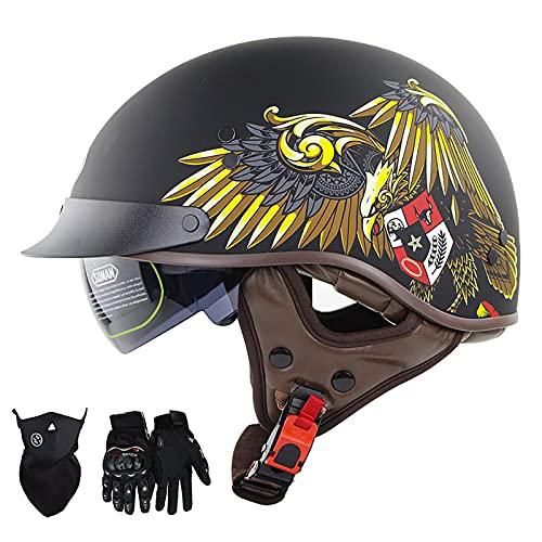 Super-ZS Medio Casco De Motocicleta Retro, con Guantes + Protector Facial Lente De Protección Solar Incorporada Forro Extraíble Y Lavable Casco Abierto De Piloto De Bicicleta Certificación Dot