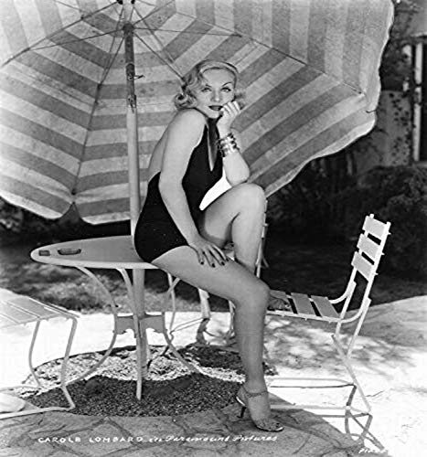 Posterazzi DAP14575 Carole Lombard - Sitting on Patio Table Photo Print, 8 x 10, Multi