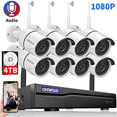 ?2020 New? Security Camera System Wireless, 4TB Hard Drive Pre-Install 8 Channel 1080P NVR, 8PCS 1080P 2.0MP CCTV WI-FI IP Cameras for Homes,OHWOAI HD Surveillance Video Security System.