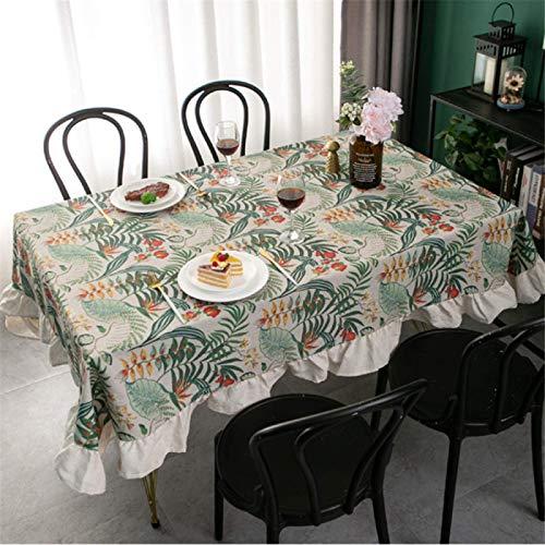 Mantel Rectangular De Lino De Algodón con Estampado De Hoja De Loto para Cocina, Mantel para Sala De Estar