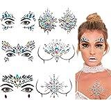 Amycute Gesicht Edelsteine Strass Temporäre Tattoos Gesicht Juwelen Sticker Kristall Körper Tattoos,Schmucksteine Selbstklebend Gesicht für Glitzer Effekt, Parties, Shows, Make-up.