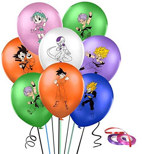 42pcs Dragon Ball Balloons Party Supplies Kit - DBZ Goku Gohan Ballons, 12 pouces Dragon Ball Imprimé Ballons En Latex De Couleur Unie, Décorations De Fête D'anniversaire Sur Le Thème De Dragon Ball