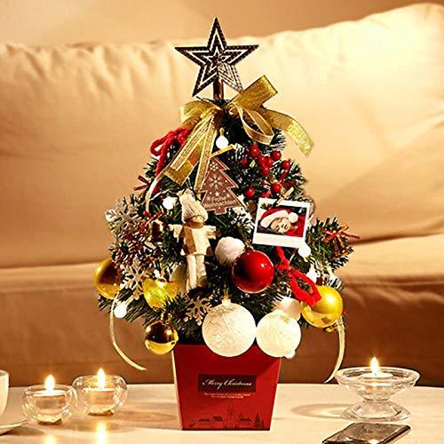 KEAIDO Árbol de Navidad de mesa preiluminado de 50 cm con cadena de luces LED, bolas colgantes y decoración de estrellas de árbol, Navidad, manualidades, decoración de escritorio (oro)