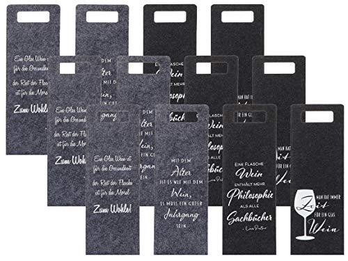 Bada Bing 12er Set Geschenkverpackung Wein Filz Mit Spruch Ca. 41 x 14,5 cm Flaschentasche Tasche Für Weinflasche Geschenktasche Deko 77