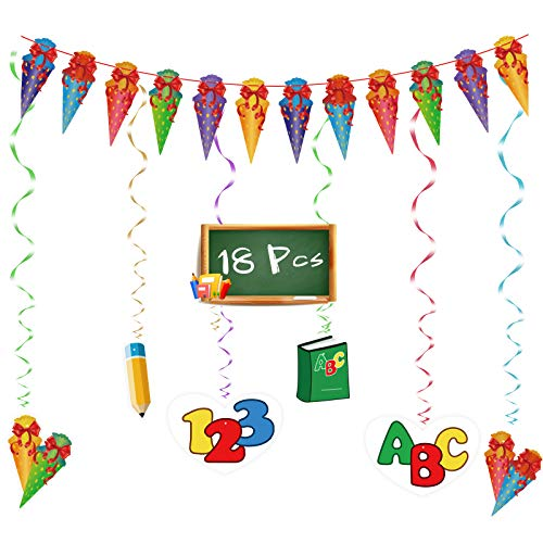 Back to School Hanging Decor, SEELOK 6pcs ABC Swirl Decorations & 1pcs Sweet Cone Garland School Themed Assorted Congrats Swirls for First Day of School Pre-School Kindergarten Classroom Decor
