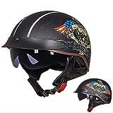 Balscw Retro Casco Moto Viso Aperto Jet Casco Mezza Half Helmet Certificazione ECE con Visiera per Scooter Casco Motociclista Vintage MTB Incrociatore per Donna E Uomo Unisex