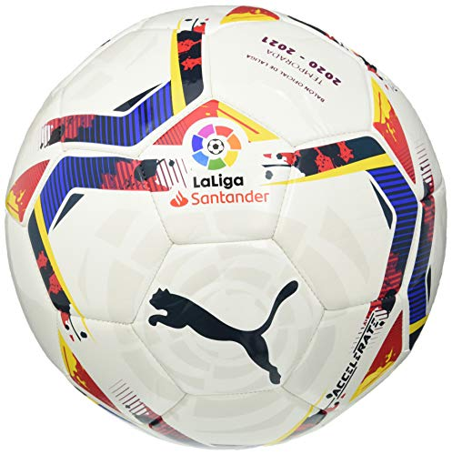 PUMA Unisex-Adult LaLiga 1 Accelerate MS Ball Fußball, White-Multi Colour, 5