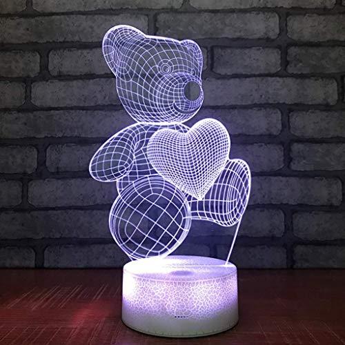 QIURUIXIANG - Luz creativa de la noche del oso, LED toque acrílico luces coloridas, escritorio cuartos noche noche luz dormitorio QI415