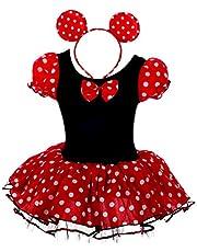 Lito Angels Disfraz de Minnie Mouse con aro de Pelo con Orejas de ratón para bebé niña Vestido de Falda de Tutu de Danza de Lunares Rojos Talla 6 a 24 Meses, 2 a 7 años