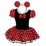 Lito Angels Minnie Mouse Kostüm Mini Maus Kleid für Baby Mädchen Rot Polka Dots Tüllrock Faschingskostüme Karneval Halloween Geburtstag Verkleidung mit Minimaus Ohren Haarreif Gr 68 74 6-12 Monate