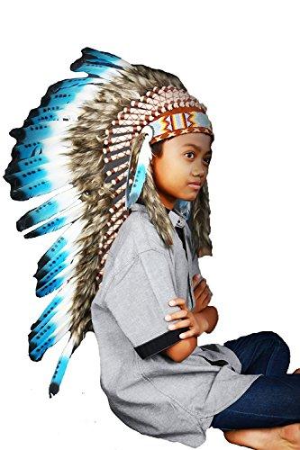 53,34 cm. de 5 /à 8 ans Kid // enfant/: pouces turquoise plume coiffe 21 N32