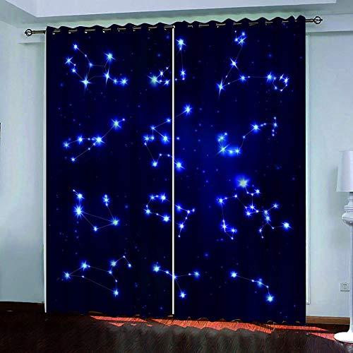 SUZIHUA Verdunkelungsvorhang 3D Constellation Starlight Massiver Vorhang Isolierung Fensterdekoration Öse...
