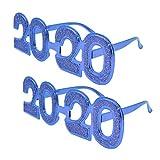 Toyvian 2 pezzi 2020 felice anno nuovo occhiali divertente novità creativa occhiali da sole vigilia occhiali da vista 2020 capodanno decorazioni per feste (blu)