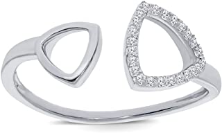 0.08ct Round White Diamond Sterling Silver Open Ring Stackable Knuckle Triangle Wrap Ring for Womens Teens
