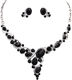 Rosemarie Collections Women's Black Oval Crystal Rhinestone Deep V Necklace and Earrings Statement Jewelry Set