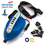 Seamax SUP Electric Air Pump for Inflatable Paddle Board, Max 20 PSI, Additional Fittings Included, Pro Edition Built in Temperature Sensor and Voltage Meter