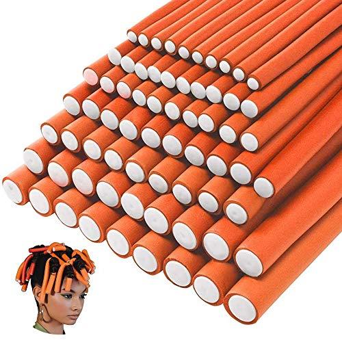 70 piezas de rodillos de espuma para rizar el cabello sin calor flexibles suaves rulos herramientas de peinado de bricolaje para peluquería de varios tamaños (naranja, tamaño 7)