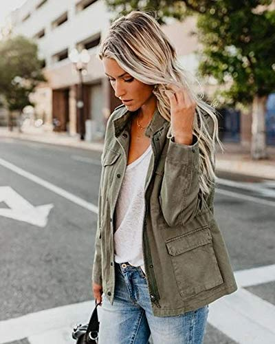 Womens Military Jacket Zip Up Snap Buttons Lightweight Utility Anorak Field Safari Coat Outwear Army Green