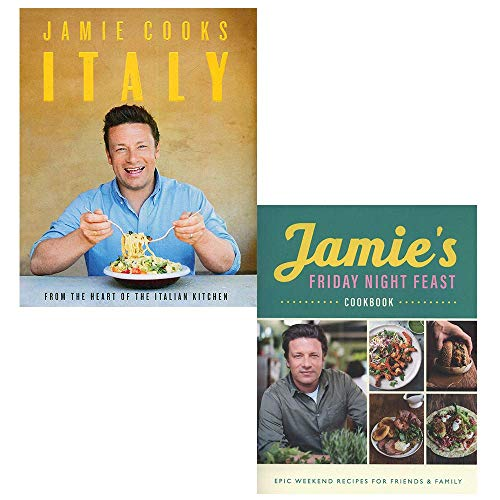 Jamie cooks italy [hardcover], jamie's friday night feast cookbook 2 books collection set