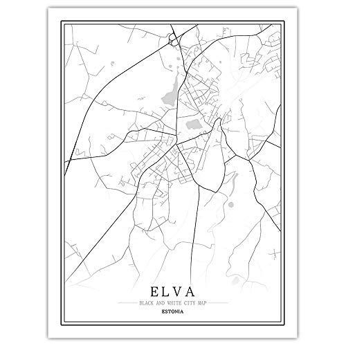 peng Prints Canvas, Estonia Elva City Map Black White Simple Minimalist Art Mural Poster Frame less Picture,Modern Vertical Painting Cafe Office Home Decor,40 * 50cm