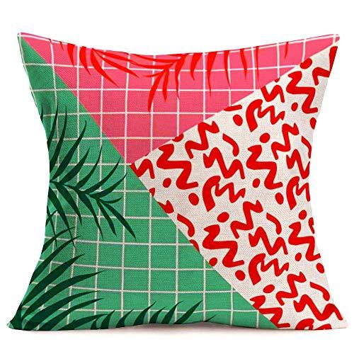 375 Fundas de almohada decorativas con diseño de geometría simple, color rosa, verde, de búfalo a cuadros tropicales, para decoración de sofá, funda de almohada de lino y algodón, 45,7 x 45,7 cm