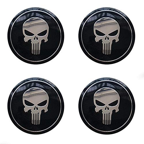 MonboAuto Wheel Center Caps HubCap Sticker - 56.5MM 2.22'' Punisher Skull Car Styling Car Accessories Emblem Badge Truck SUV Universal